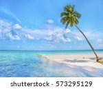paradise nature  palm trees on... | Shutterstock . vector #573295129