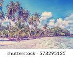 paradise nature  bungalows... | Shutterstock . vector #573295135