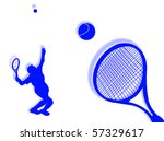 tennis players with racket on... | Shutterstock . vector #57329617
