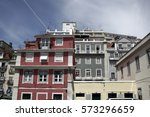 view on colorful houses in old... | Shutterstock . vector #573296659