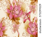 seamless pattern with spring...   Shutterstock . vector #573299329