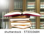 book open in the library | Shutterstock . vector #573310684