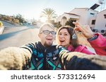 happy smiling young couple... | Shutterstock . vector #573312694