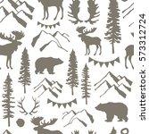 forest seamless pattern. wild...   Shutterstock .eps vector #573312724