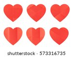 set of various folded red heart ... | Shutterstock . vector #573316735