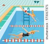 public swimming pool inside... | Shutterstock .eps vector #573317371