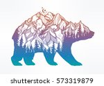 decorative double exposure bear ... | Shutterstock .eps vector #573319879