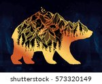 decorative double exposure bear ... | Shutterstock .eps vector #573320149