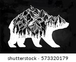 Decorative double exposure bear with nature pine forest, rocky mountain landscape range and moon. Isolated vintage vector illustration. Tattoo, travel, adventure, wildlife symbol. The great outdoors.   Shutterstock vector #573320179