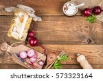 homemade canned mushrooms on a... | Shutterstock . vector #573323164