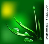 vector grass with dew drops on... | Shutterstock .eps vector #573332644