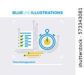 blue line illustration concept... | Shutterstock .eps vector #573343081