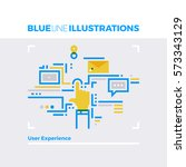blue line illustration concept... | Shutterstock .eps vector #573343129