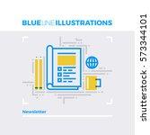 blue line illustration concept... | Shutterstock .eps vector #573344101