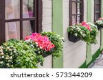 wood house decorated with...   Shutterstock . vector #573344209