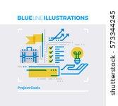blue line illustration concept... | Shutterstock .eps vector #573344245