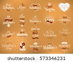 happy valentines day typography ... | Shutterstock .eps vector #573346231