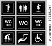 wc   toilet door plate icons... | Shutterstock .eps vector #573351064