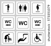 wc   toilet door plate icons... | Shutterstock .eps vector #573351079