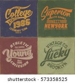 college. vintage college set.... | Shutterstock .eps vector #573358525