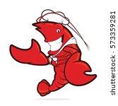 lobster chef presenting... | Shutterstock .eps vector #573359281