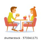 young couple eating fast food | Shutterstock .eps vector #573361171