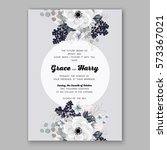 anemone wedding invitation card ... | Shutterstock .eps vector #573367021