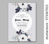 anemone wedding invitation card ...   Shutterstock .eps vector #573367021