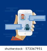 chatbot concept. man chatting... | Shutterstock .eps vector #573367951
