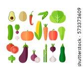 vegetables flat icon set.... | Shutterstock .eps vector #573373609