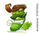 cucumber character icon. vector ... | Shutterstock .eps vector #573375541