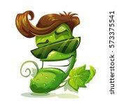 cucumber character icon. vector ... | Shutterstock .eps vector #573375541