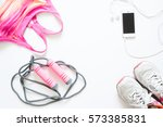 Flat Lay Of Cellphone  Pink...