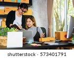 couple of asian women... | Shutterstock . vector #573401791