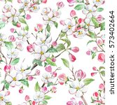 watercolor spring floral... | Shutterstock . vector #573402664