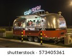 Small photo of DUBAI, UAE - DEC 4, 2016: Airstream caravan food truck at the Last Exit food trucks park on the E11 highway between Abu Dhabi and Dubai