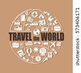 travel line icons in globe...   Shutterstock .eps vector #573406171