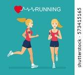 running girl girl in profile ... | Shutterstock .eps vector #573415165