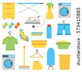 illustration with flat laundry... | Shutterstock . vector #573415885