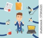 caucasian hard working business ... | Shutterstock .eps vector #573416221