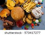 assortment of unhealthy... | Shutterstock . vector #573417277