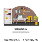 set of colorful interior with... | Shutterstock .eps vector #573420775
