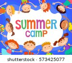 children around banner cartoon... | Shutterstock .eps vector #573425077