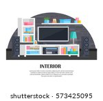set of colorful living room... | Shutterstock .eps vector #573425095