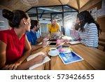 casual business team having a... | Shutterstock . vector #573426655