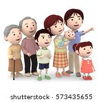 3d illustration  big family... | Shutterstock . vector #573435655
