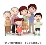3d illustration  big family... | Shutterstock . vector #573435679