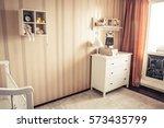 cozy kids room in retro vintage ...   Shutterstock . vector #573435799