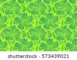 sketch of many green flowers.... | Shutterstock . vector #573439021