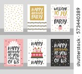 set of 6 cute creative cards... | Shutterstock . vector #573440389